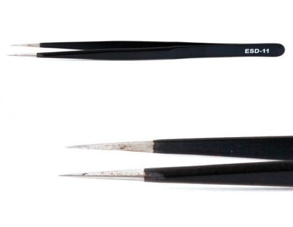 Tweezers Straight Fine (Black)